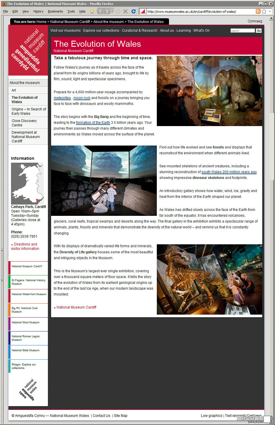 National Museums of Wales website with my photos